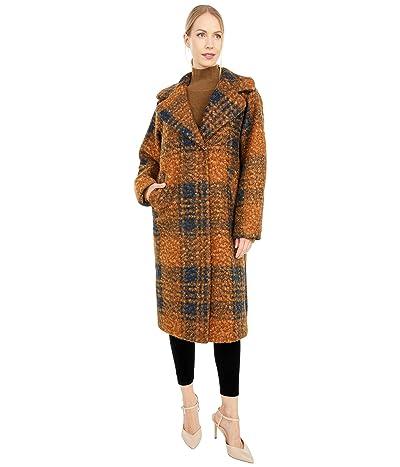 Calvin Klein Oversized Plaid Wool Coat with Button Closure (Brown/Black) Women