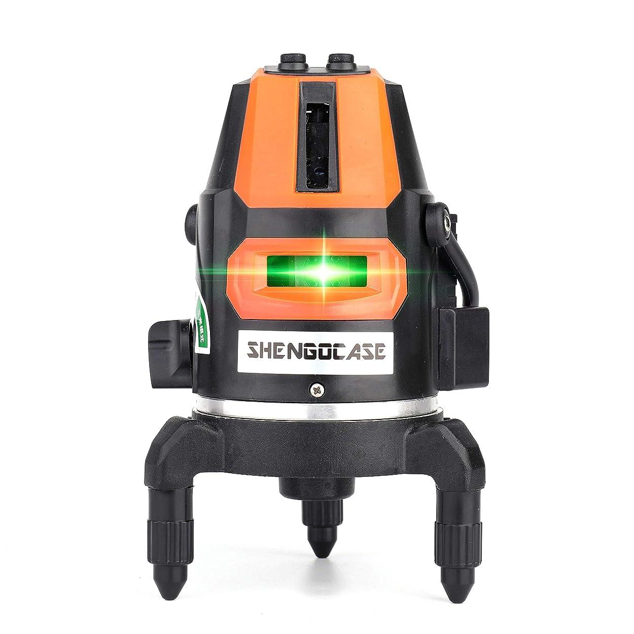 出口健康ビーズグリーンレーザー墨出し器 5ライン6ポイント回転レーザー線4方向大矩照射モデル 自動水平調整機能 高輝度 5ライン(4本垂線×1本水平線))