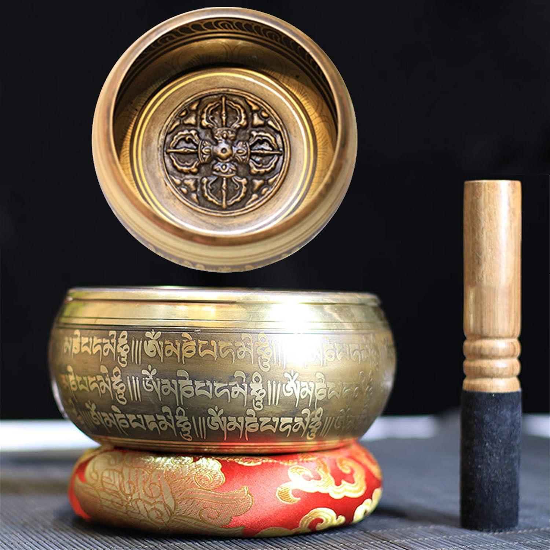 Gandhanra Juego de cuencos tibetanos para cantar, tallado con cruz Vajra y Mentra, para sanación con sonido, meditación, yoga, relajación, equilibrio de chakras, hecho a mano en Nepal