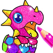 Rainbow Glitter Coloring Book Dragons - Fairytale & Fantasy Art Coloring Pages