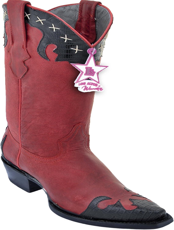 Los Altos Ladies Snipp Toe Genuine läder läder läder Teju med Desert Skin Western stövlar  online billigt