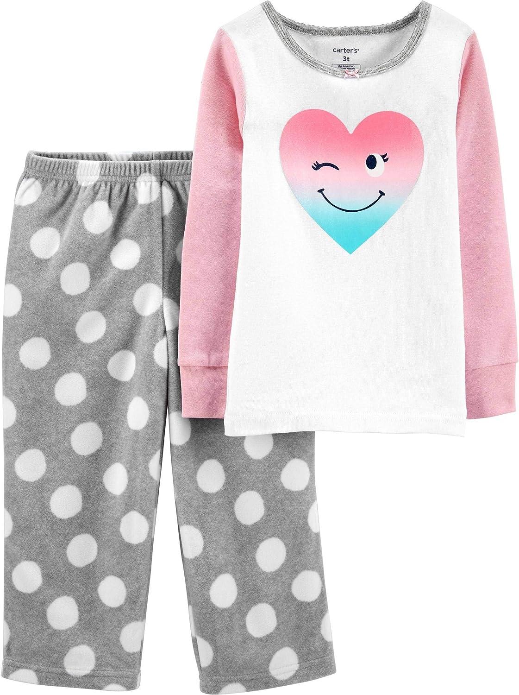 Carter's Girls' 2-Piece Snug Fit Cotton and Fleece Pajamas (3T, Pink Heart/Heather)