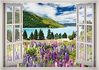 Lake Mountain View Window 3D Wall Decal Art Removable Wallpaper Mural Sticker Vinyl Home Decor West Mountain W02 (SMALL (2...