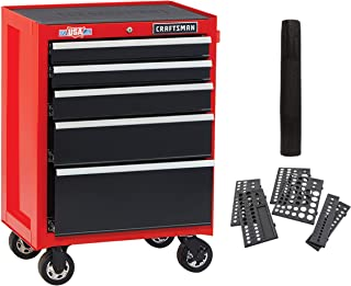 CRAFTSMAN Tool Cabinet with Drawer Liner Roll & Socket Organizer, 26-Inch, 5 Drawer, Red (CMST82769RB)