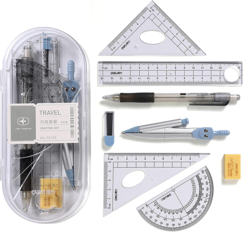 {Updated Version}8pcs Math Geometry Kit Super-cheap Student Max 47% OFF Dra Supplies Set