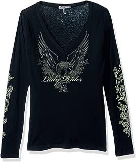 Hot Leathers GLC3026 Black, XL Lady Rider Upwing Eagle Ladies Long Sleeve Biker Tee (Black, X-Large)