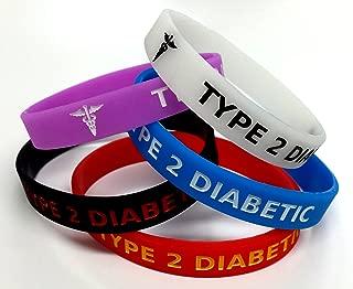 5x TYPE 2 DIABETIC diabetes Wristband MEDICAL AWARENESS ALERT BRACELET Glow in the Dark, Red, Black, Purple, Blue
