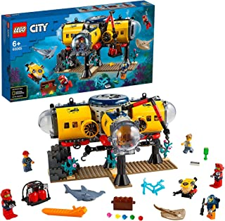 LEGO City Oceans Ocean Exploration Base 60265 building set with 5 minifigures, stingray and shark, Toy for kids 6+ years (...