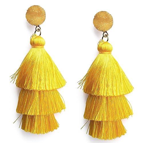 e9c20f3deb70fd Colorful Layered Tassel Earrings Boho Dangle Drop Tiered Tassels Druzy  Studs Earrings for Women, 23
