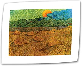 ArtWall Evening Landscape with Rising Moon by Vincent Van Gogh 24 by 32-Inch Flat/Rolled Canvas Art with 2-Inch Accent Border
