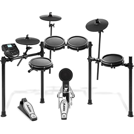 Alesis Drums Nitro Mesh Kit - Eight Piece All Mesh Electronic Drum Kit With Super Solid Aluminum Rack, 385 Sounds, 60 Play Along Tracks, Connection Cables, Drum Sticks & Drum Key Included