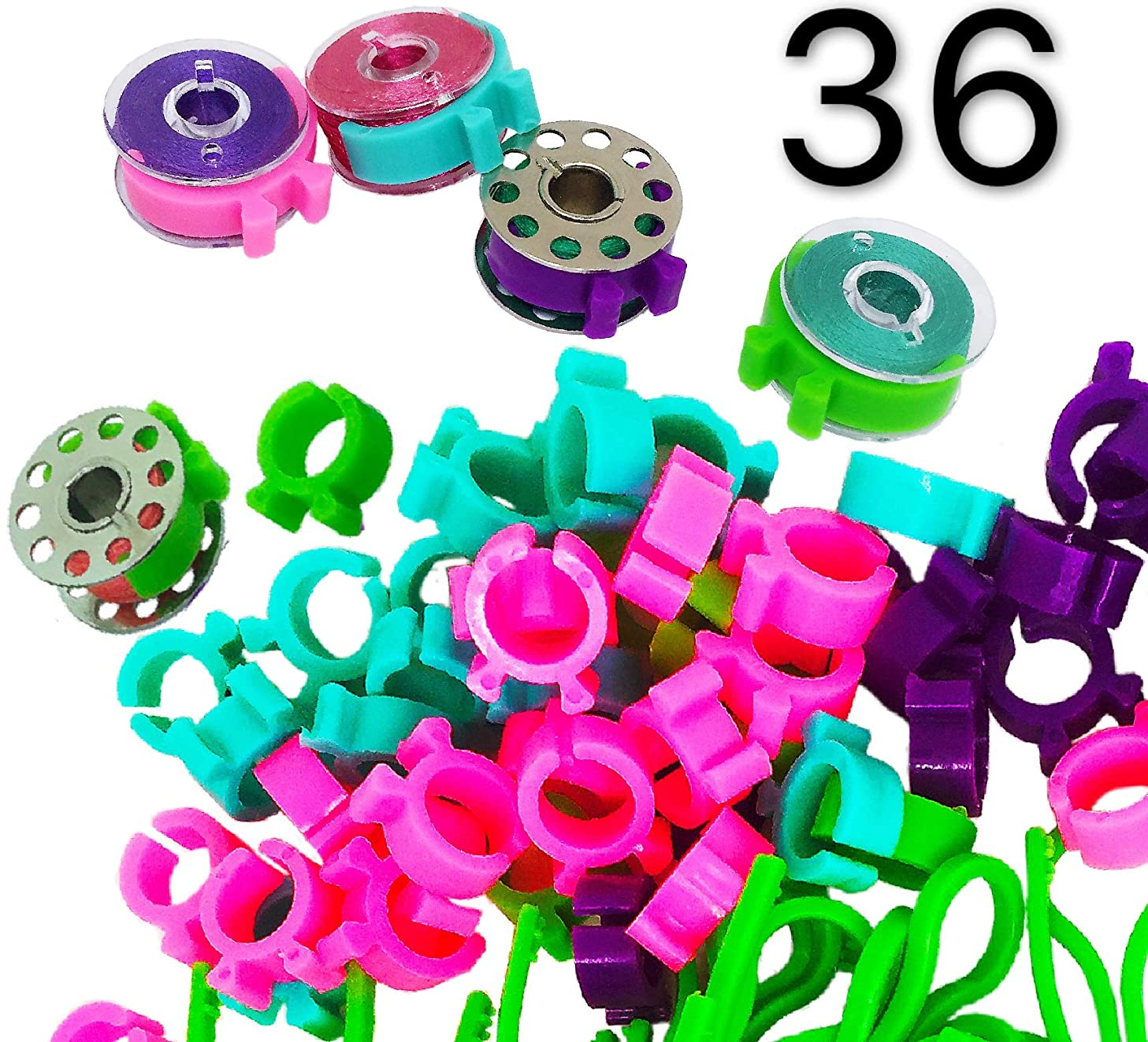 PeavyTailor Bobbin Buddies 36 Pcs Bobbin Holders Clamps Clips for Embroidery Quilting Sewing Machine #12