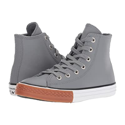 Converse Kids Chuck Taylor(r) All Star(r) Leather Hi (Little Kid/Big Kid) (Cool Grey/Black/White) Boy