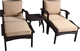 Christopher Knight Home 296729 Maui Outdoor 5-Piece Brown Wicker Seating Set with Cushions