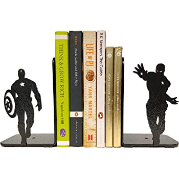 HeavenlyKraft Superheros Decorative Metal Bookend, Non Skid Book End, Book Stopper for Home/Office Decor/Shelves, 5.9 X 3.9 X 3.14 Inch Per Piece