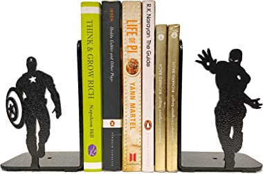 HeavenlyKraft Superheros Decorative Metal Bookend, Non Skid Book End, Book Stopper for Home/Office Decor/Shelves, 5.9 X 3.9 X