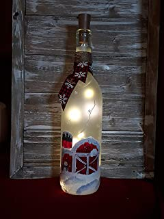 Country Barn/Farm Christmas/Winter Painted Wine Bottle with Snowman