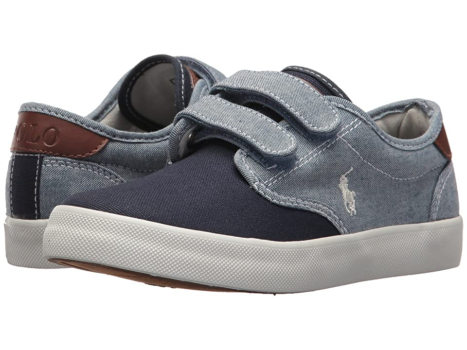 Polo Ralph Lauren Kids Luwes EZ (Little Kid) (Blue Chambray/Navy Canvas/White Pony Player) Boy