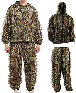 Hunting Camo Clothes Sniper Ghillie Suit Halloween Cosplay Costume Woodland 3D Leaf Hunting