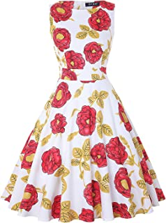Women's Vintage 1950s Tea Dress Floral Spring Garden Party Rockabilly Cocktail Swing Dresses
