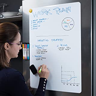 Extra Large Magnetic Dry Erase Whiteboard Sheet for Fridge 25x17 inch with New Stain Resistant Technology - White Board for Refrigerator - Kitchen Whiteboard - Fridge Magnets