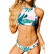 Seaselfie Women's Tropical Forests Pattern High Neck Back Cross Push Up Padding Tankini Bikini Set