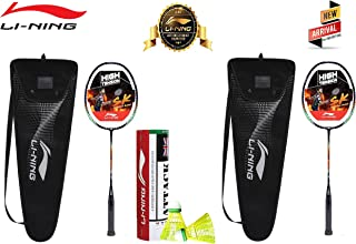 Li-Ning Badminton Kit Set (Set of 2 - Srikanth Signature Series + Attack Nylon Shuttle, Pack of 6)