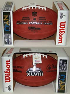 Wilson Super Bowl 48 (XLVIII) Official NFL Leather Game Football - with Team Names Seattle Seahawks vs Denver Broncos