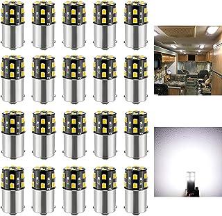 BRISHINE 20PCS 1141 1156 Interior LED Light Bulbs for RV, Super Bright 18-SMD 4500K Natural White 1073 1003 7506 BA15S LED Bulbs for Camper Trailer Boat Indoor Lights(12V DC)