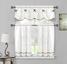 Home Maison - Carlee Semi Sheer W/ Bow Tie Kitchen Tier & Valance Set | Small Window Curtain for Cafe, Bath, Laundry, Bedr...