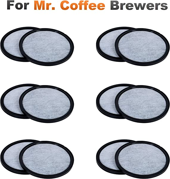 K J 12 Pack Of Mr Coffee Compatible Water Filter Discs Universal Fit Mr Coffee Compatible Filters Replacement Charcoal Water Filter Discs For Mr Coffee Coffee Brewers Better Than OEM