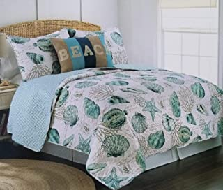 3pc King Size Coastal Teal Blue Seashell Starfish Coral Reef Quilt Set
