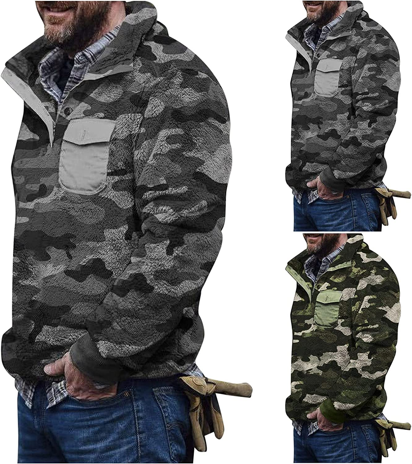 Men's Camouflage Turtleneck Plush Sweater Men's Button Pullover Plush Sweater with Pocket Winter Warm 2021