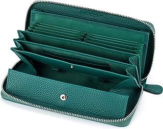 多機能 財布 牛革 レシート すっきり 長財布 レディース 大容量 本革 ラウンドファスナー ウォレット BOX型小銭入れ (グリーン )