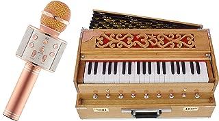 Makan Musicals Bass Reed & Male Reed Traveler, Portable, Folding 9 Stops, 5 Main & 4 Drone, 3½ Octaves, Coupler, Teak Colour Bhajan, Kirtan Hand Pumped Harmonium