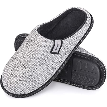 LongBay Ladies' Comfy Waffle Knitted Slippers Memory Foam Slip On House Shoes Anti-Slip Indoor Outdoor