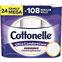 24 Family Mega Rolls of Cottonelle Ultra ComfortCare Toilet Paper