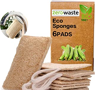 Organic Dishwashing Sponges Scrub Scourer Eco Friendly Kitchen Sponge, Zero Waste Natural Loofah Plant Fibrous 100% biodeg...