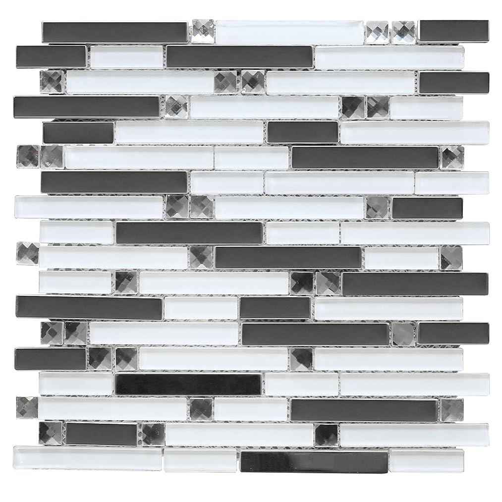 Mirror Stainless Steel + White Glass Mosaic + Glass Diamond for Backsplash Wall (10 Sheets)