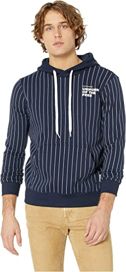 Core Hooded Sweatshirt Pinstripe 1 All Over Long Sleeve