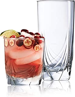 Set of 16 Drinking Glasses, Heavy Base Durable Glass Cups - 8 Cooler Glasses (16oz) and 8 Rocks Glasses (13oz), 16-piece Glassware Set