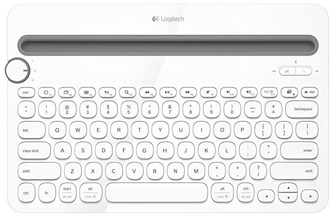 Renewed  Logitech K480 Multi Device Bluetooth Keyboard  White  Keyboards