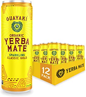 Guayaki Yerba Mate | Organic Alternative to Herbal Tea, Coffee and Energy Drink | Sparkling Classic Gold | 120 mg of Caffe...