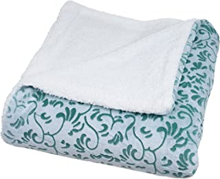Bedford Home Botanical Etched Fleece Blanket with Sherpa, Full/Queen, Green