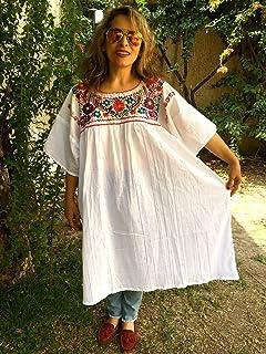 Vestido Mexicano Bordado de Flores Casual para Playa