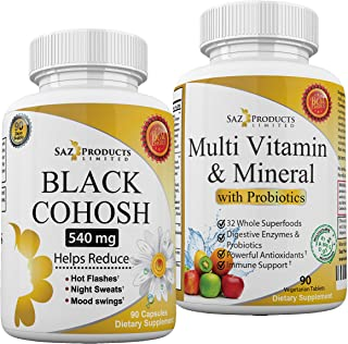 Black Cohosh and Whole Food Multivitamin with Probiotics - A Powerful Menopause Combination