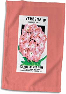 "3D Rose Verbena Mammoth Pink Vintage Flower Seed Packet Reproduction Towel, 15"" x 22"", Multicolor"