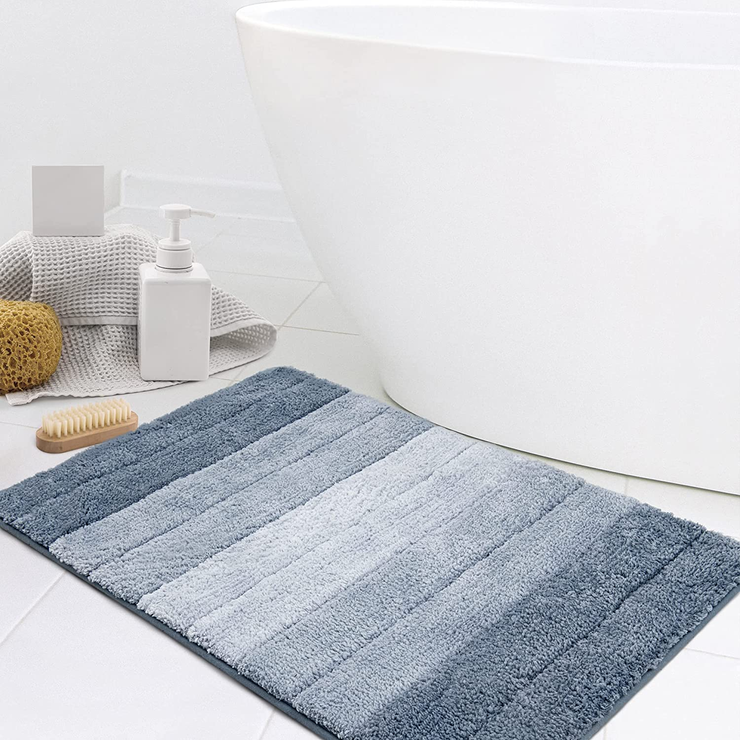 KMSON Ombre Bathroom Rugs Bath Mat Non Ultra Soft Slip Wate and Inventory cleanup selling sale supreme