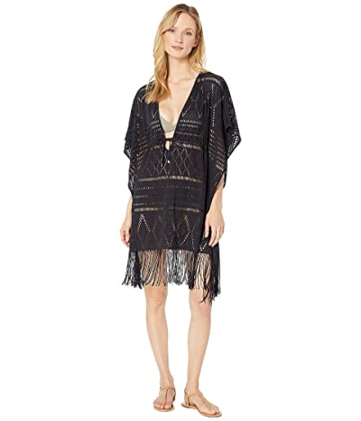 Bleu Rod Beattie On the Fringe Crochet Caftan Cover-Up (Black) Women
