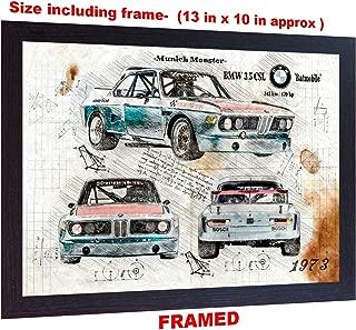 S&E DESING BMW 3 5 CLS da Vinci Sketch Art Print Poster Logo Sport car m3 e90 e95 m5 Framed